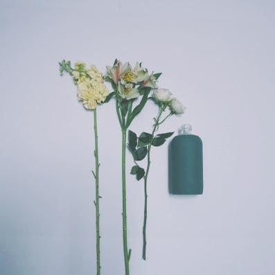 D E S I G N | bkrs + blooms // TheFlowerGalsGuide.com // #simple #arrangement #waterbottles #waxflower #delphinium #alstroemeria #stock